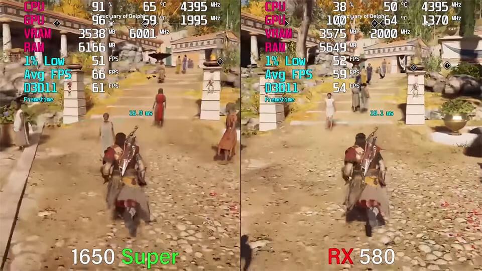 GTX 1650 Super vs. RX 580 test v 9 igrah